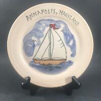 Annapolis MD Maryland Stoneware Pottery Plate Dish Sailboat Signed Nautical