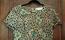 Kathie Lee Collection sz 8 Short Sleeve Print Dress Teal Tan Cheetah Floral EUC