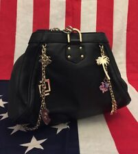 NWOT NEW Versace for H&M Black Leather Bag Charms Purse Handbag Tasche Rouche