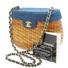 34bb054dbbf5bc Authentic CHANEL Basket Chain Straw Shoulder Bag Denim Blue Vintage AK12393
