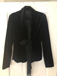 Carla Zampatti Exquisite Black Velvet Blazer Front Silk Tie Size 12