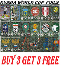 PANINI WORLD CUP 2018 SHINY STICKERS  BADGES / LOGO'S / LEGENDS BUY 3 GET 3 FREE