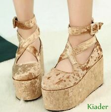 Roman Platform Womens Gothic Wedge High Heels Velvet Cross Strap Lolita Shoes sz