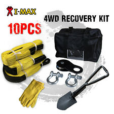 I-Max 4WD 4X4 Winch Recovery Kit Snatch Straps Bow Shackles Pulley Block Shovel