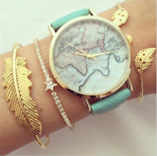Fashion Women 3Pcs Leaf Star Simple Adjustable Open Bangle Gold Bracelet Jewelry