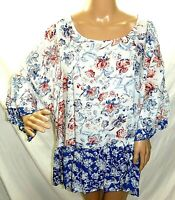 Como Blu Women Plus Size 1x 2x 3x Blue Red Floral Tunic Top Blouse Shirt
