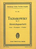 Taschenpartitur Tschaikowsky : Streichquartett Op. 22 F dur