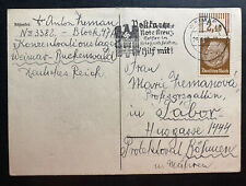 1940 Germany Buchenwald KZ Camp Acknowledgment Packet Postcard Cover To Tabor