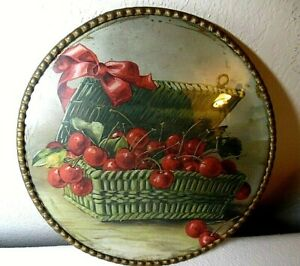 ANTIQUE 1912 ROUND FRAMED STILL LIFE PRINT CHERRIES IN A BASKET MADE IN GERMANY