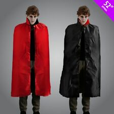 "52"" Men's Reversible Black Red Cape Dracula Devil Halloween Fancy Dress Stag Fun"