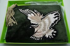SAM EDELMAN Green Velvet Embroidered BIRD Clutch NWT NIB