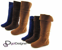 da216b5089f3 Women s Fashion Flat Round Toe Foldable Cuff Slouchy Mid Calf Knee High Boot  NEW
