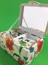 Jewelry Box Removable Travel Case Mirror Compartments Floral Fabric Talbots