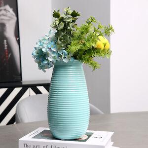8-Inch Modern Sky Blue Ribbed Ceramic Flower Bouquet Vase