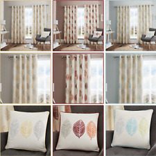 SKANDI LEAF Autumn Leaf Print Lined Ready Made Eyelet/Ring Top Curtains Pair