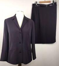 Vintage ladies Gerry Weber purple jacket skirt suit set size 16 leather belt