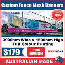 Custom Outdoor Fence Mesh Banner Sign Wrap - 3900mmW x 1500mmH - Australian Made