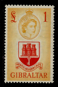 GIBRALTAR QEII SG158, £1 scarlet & orange-yellow, M MINT. Cat £55.