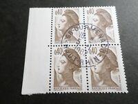 FRANCE BLOC timbres 2183 LIBERTE' DELACROIX, oblitéré 1982 cachet rond, QUARTINA