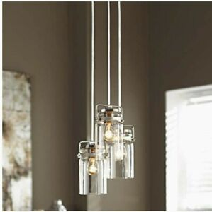 NEW ALLEN + ROTH VALLYMEDE 3-LIGHT GLASS CHANDELIER LIGHT-BRUSHED NICKEL FINISH