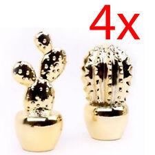 4 x Planta de Cactus ornamento de oro Decorativo Moderna Hogar Decoración objeto Mantel 16CM
