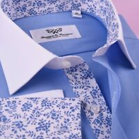 Blue Cotton Blend Solid Poplin Formal Business Dress Shirt Contrast White Collar