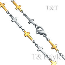 T&T 5mm Two-Tone Gold Stainless Steel Cross Chain Necklace (C156)