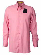 Men's Raf Simons Sterling Ruby Pink Contrast Pocket Shirt Button Up Down Rare 46