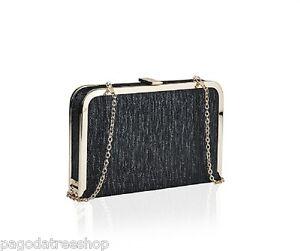 New Evening Box Clutch Bag Shoulder Bag & Chain Strap in Black or Gold