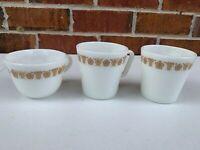 Vintage 1960s Pyrex Spring Blossom Crazy Daisy Coffee Mugs Corning Tea Cup 3 qty