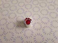 925 Argento Sterling smalto rosso Paw Print Charm Si Adatta a Perline Europee Braccialetto