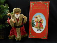 """""""OLDE SAINT NICK"""" Fabric Mache Dressed Santa with Bag of Toys- Russ Berrie & Co."""