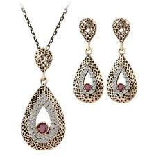 Teardrop style necklace and earrings with CZ rhinestone women's 2 Pc jewelry set