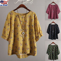 Plus Size Women's O-neck 3/4 Sleeve Loose Top Casual Floral Print T-Shirt Blouse