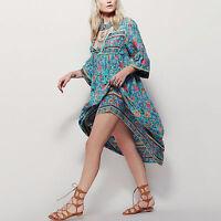 Women Summer Floral Beach Boho Gypsy Long Sundress Casual Maxi Dress Plus S~2XL