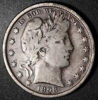 1898-P BARBER HALF DOLLAR - FINE/VF (#A)
