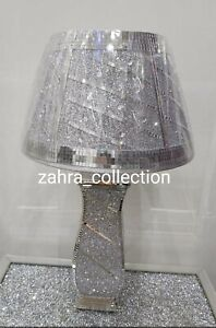 Crushed Diamond Silver LED Vase Lamp Bling Table Lamp Shade with free Led bulb