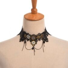 Vintage Women Black Lace Gear Tassels Necklace Steampunk Gothic Choker Necklace
