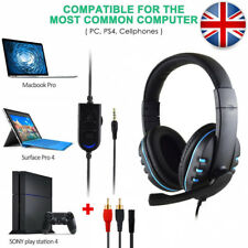 3.5mm Wired Gaming Headset Music Headphone Mic Chat for PC Laptop Ps4 Xbox UK