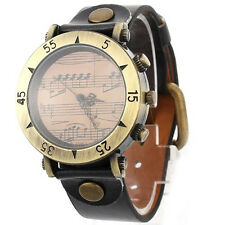 Fashion Vintage Piano Quartz Women Leather Metal Wrist Watch black LW