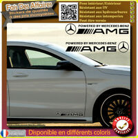 2 Stickers Autocollant powered by mercedes-benz amg sponsor rallye tuning decal
