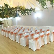 50 White Arch Front Spandex Chair Covers - EX HIRE - Weddings Christening Events