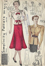 1930s Vintage Sewing Pattern B36 W30 BLOUSE & SKIRT (1287R)