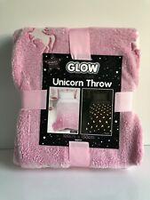 * NEW GIRLS CHILDREN PINK GLOW IN THE DARK UNICORN throw blanket soft cover.