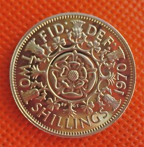 STUNNING 1970 SCARCE PROOF TWO SHILLING LAST DATE COIN ISSUED 51st ANNIVERSARY