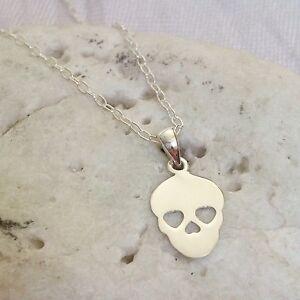 Sterling Silver Sugar Skull Necklace Mexican Calaveras Day Dead Pendant Ladies