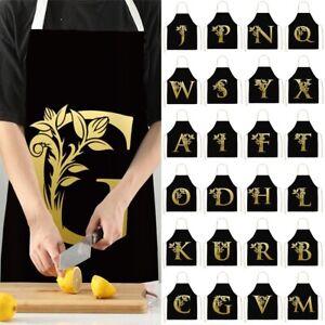 Waterproof Black Golden Letter Flower Cotton Linen Apron Kitchen Cooking Aprons