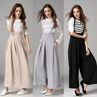 Women Casual Pleated High Waisted Wide Leg Palazzo Pants Suspenders Trousers UK