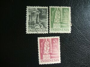 Indonesia 1949 Scott 35,38 and 39 Buildings. Used.