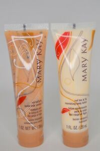 Mary Kay Red Tea and Fig Nourishing Body Lotion & Loofah Cleanser 1 FL OZ each